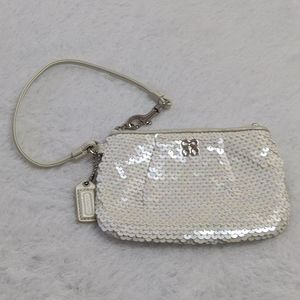 Coach Shiny Pearl White Small Wristlet